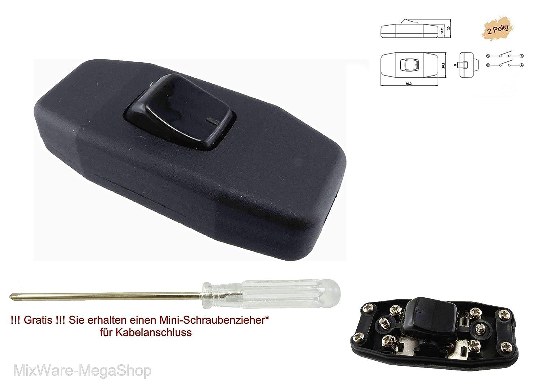 Schwarz Zwischenschalter mit Wippschalter 1 polig 6A 250V