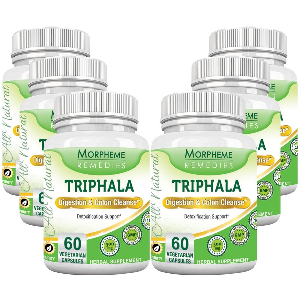 Morpheme Triphala 500mg Extract 60 Veg Caps - 6 Bottles