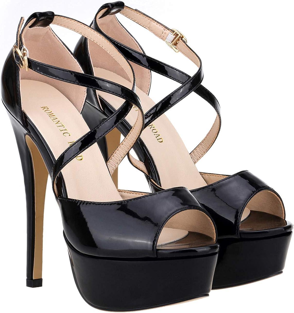 Amazon Com Romantic Road Heels For Women 5 5in High Heels For Women Stiletto Sandals Crisscross Strappy Peep Toe Platform Party Pumps Sandals