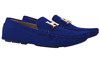 Santimon Mocassins Homme Suède Cuir Plats Slip-on Loafers Loisirs Chaussures  Or Buckle (40