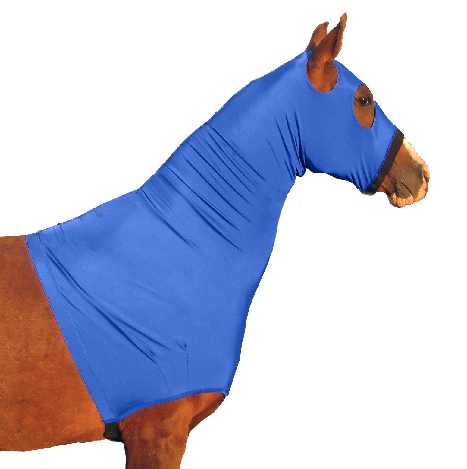 Derby Originals Lycra Horse Hoods with Zipper, Blue, Medium