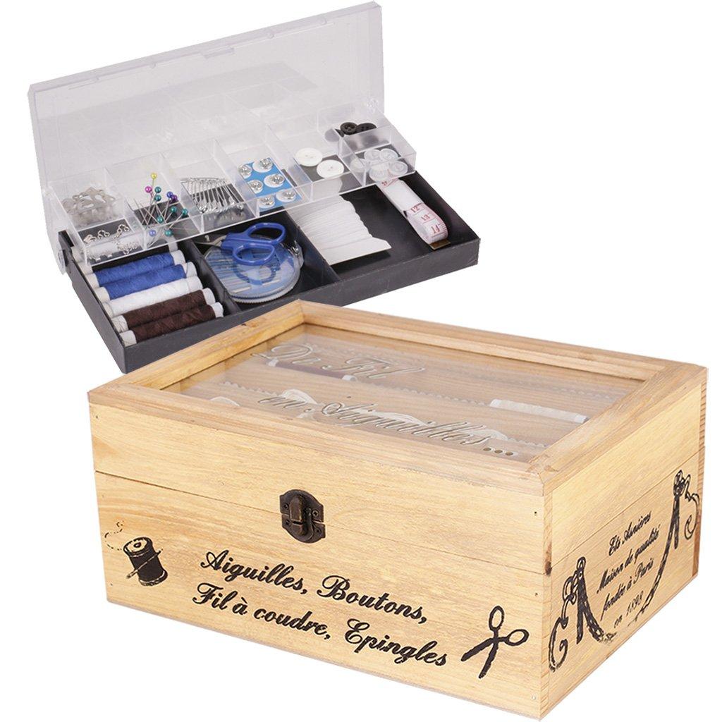 Dibor, grande scatola da cucito in legno vintage e kit di accessori per cucito; scatola con kit di cucito in stile merceria francese