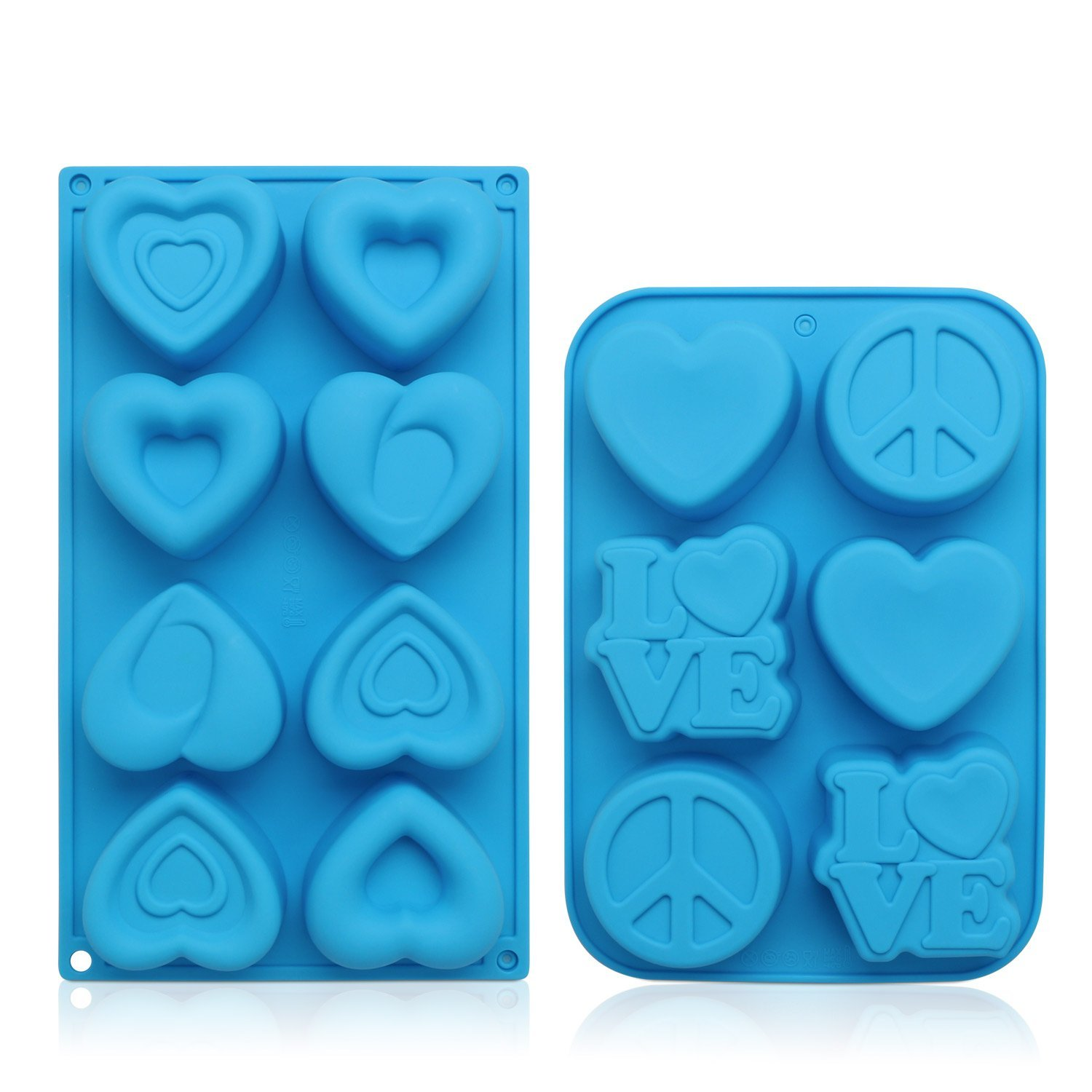 Soap Molds, Beasea Love Heart Shaped Candy Cake Jello Mold Ice Soap Mould Home Kitchen Supplies Silicone Mold (2 Pack) Random Color
