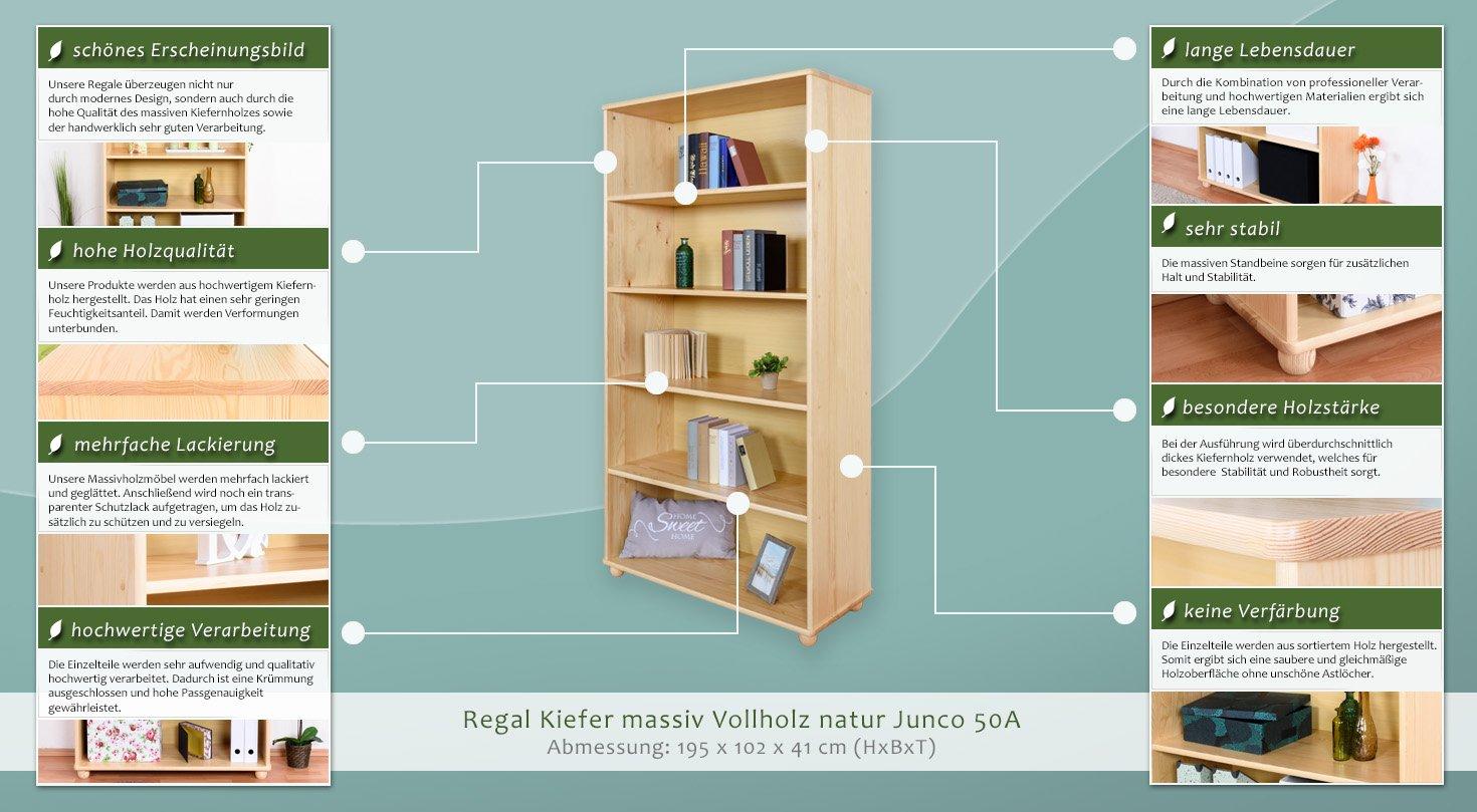 Regal Kiefer massiv Vollholz natur Junco 50A Abmessung 195 x 100 x 42 cm H x B x T