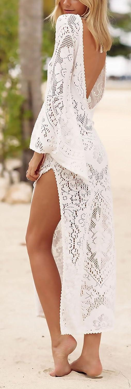 Vestiti Donna Eleganti Lunghi Moda Mare Pizzo Abiti da Giorno Copricostume Mare Manica Lunga Maniche Tromba V Scollo Senza Schienale Spacco Casual Maxi Vestito Tunica Bikini Cover Up