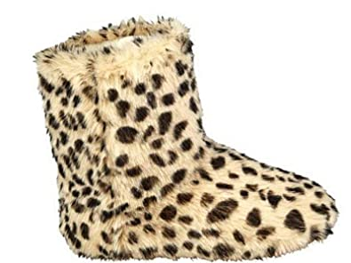 f37fe054e018 Ladies Girls Leopard Print Faux Fur Slippers Boots Winter Warm Novelty Shoe  Size S M L (M