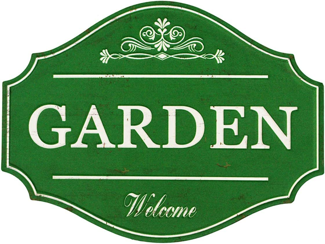 Funly mee Vintage Metal Garden Sign with Distressed Green Finish Rustic Decorative Garden Wall Plaque 12.2×9.5(in)