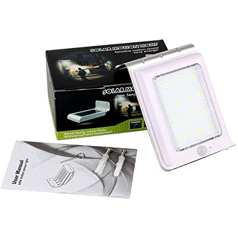 Lámpara de pared con sensor de movimiento solar Uhomely inalámbrico, 16 LED, impermeable,