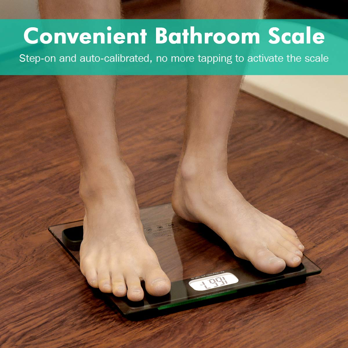 Beautural Precision Digital Body Weight Bathroom Scale with Lighted Display, Step-On Technology, 400 lb by Beautural (Image #7)