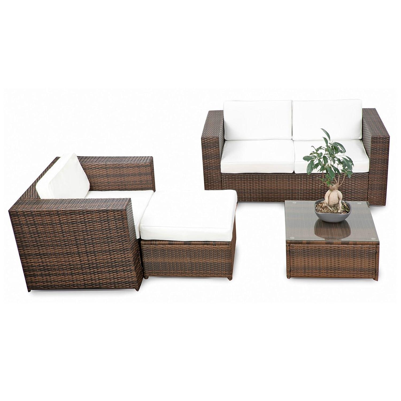 SSITG Polyrattan Gartenmöbel Lounge Möbel Sitzgruppe Lounge Hocker ...
