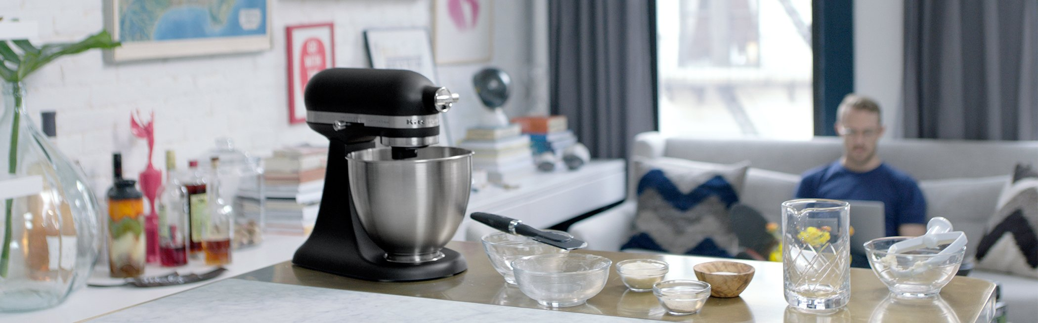 KitchenAid KSM3311XBM Artisan Mini Series Tilt-Head Stand Mixer, 3.5 quart, Matte Black by KitchenAid (Image #2)
