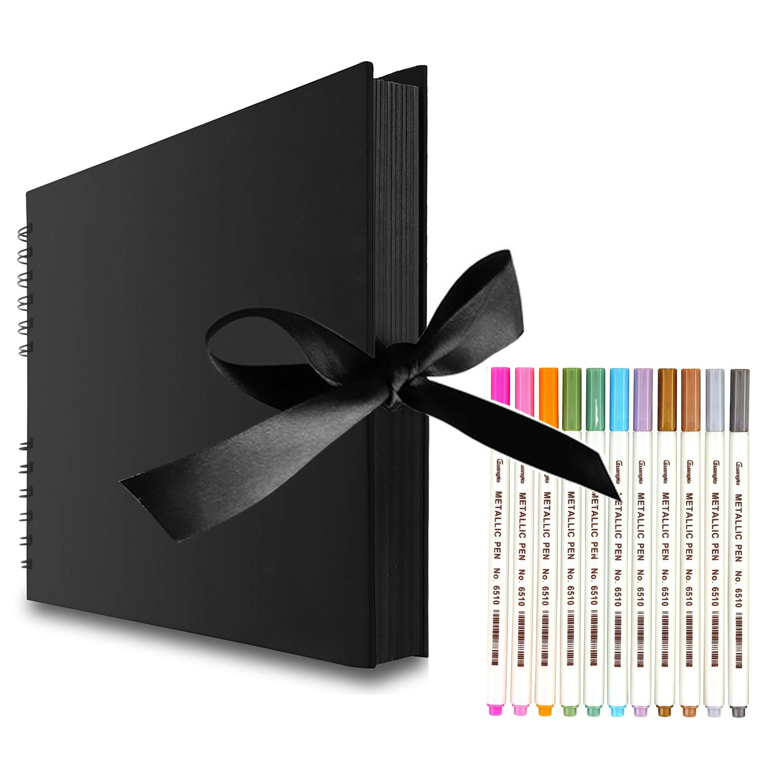 EVNEED Scrapbook Photo Album with Black Page 12x9,Black Cover (40 Sheets, 80 pages) With 12 Pcs Markers Paints Pens.