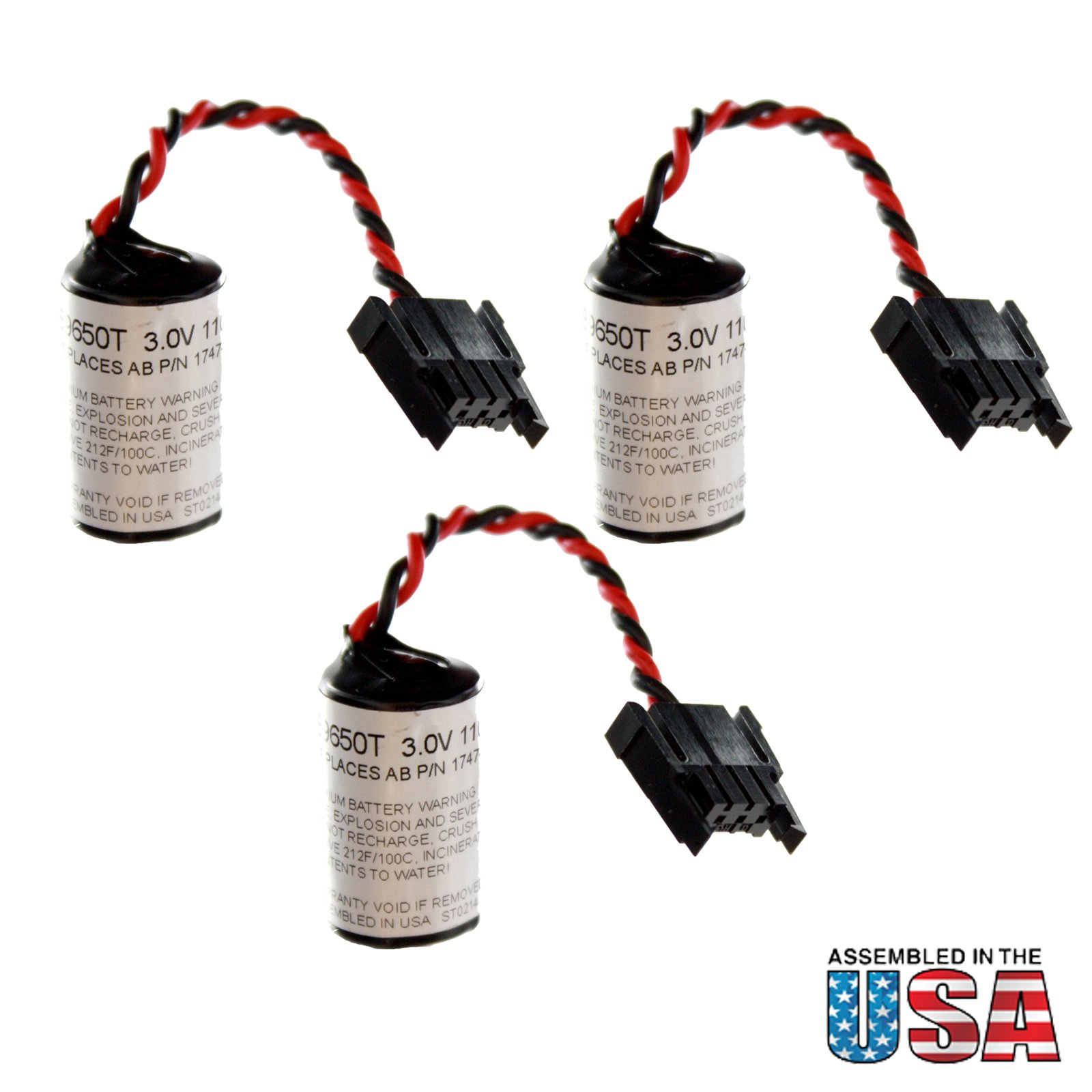 (3-Pack) 3V Lithium PLC Battery Replaces 41762, 41763, 41764, SLC5/01, SLC500, 1747BA, 1769-BA, 1769-BA2, 41761, 1769-L23-QBFC1B, 1769-L23E-QB1B, 1769-L23E-QBFC1B, 1769-L32E, 1769-L35E, COMP109 by Exell Battery