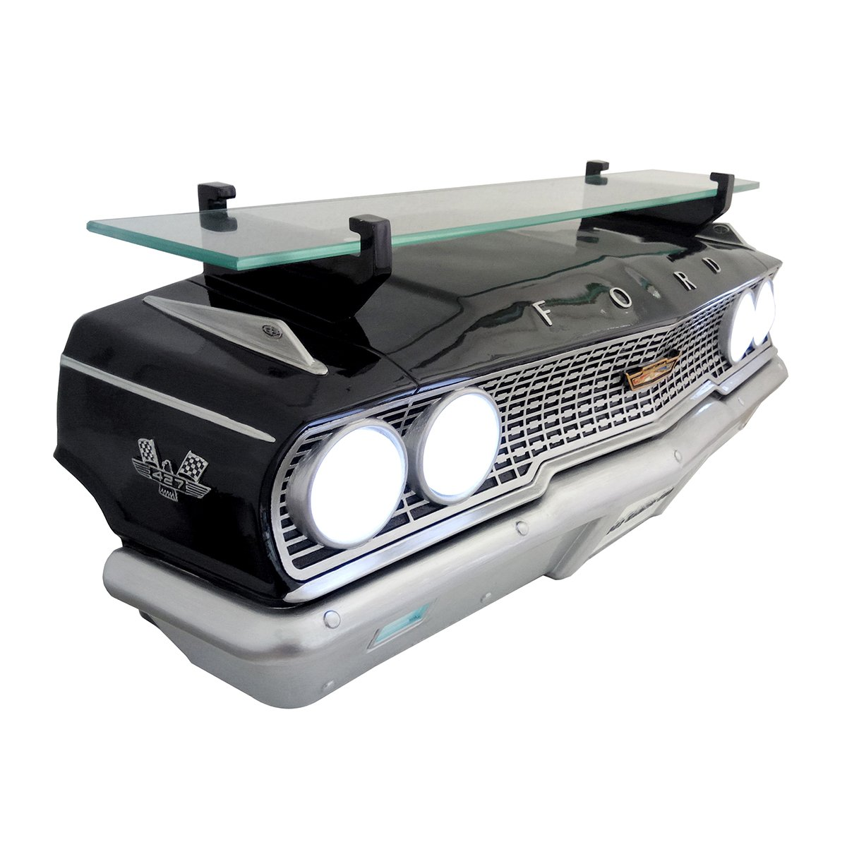 "Wall Shelf, Decorative Wall Shelf for Automotive Car Enthusiasts, Car Shelves (1963 Ford Galaxie 500 427) 19"" W x 71/2 ""H x 6.5"" D weight 7 lbs."