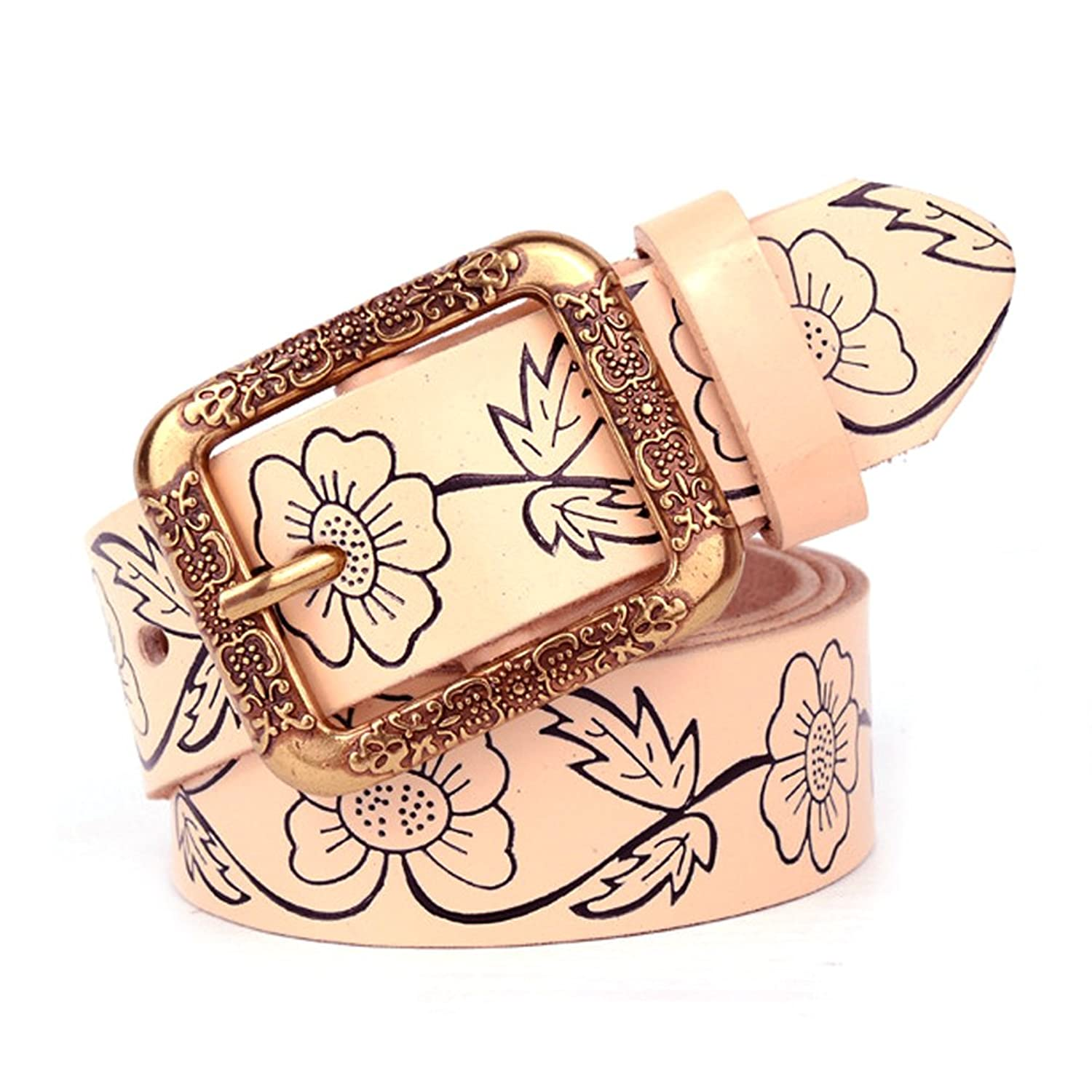 Women's Genuine Leather Belts Western Floral Embossed Strap Waist Belt