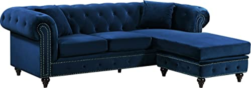 Meridian Furniture Sabrina REVERSIBLE 2 Piece Button Tufted Velvet Sectional