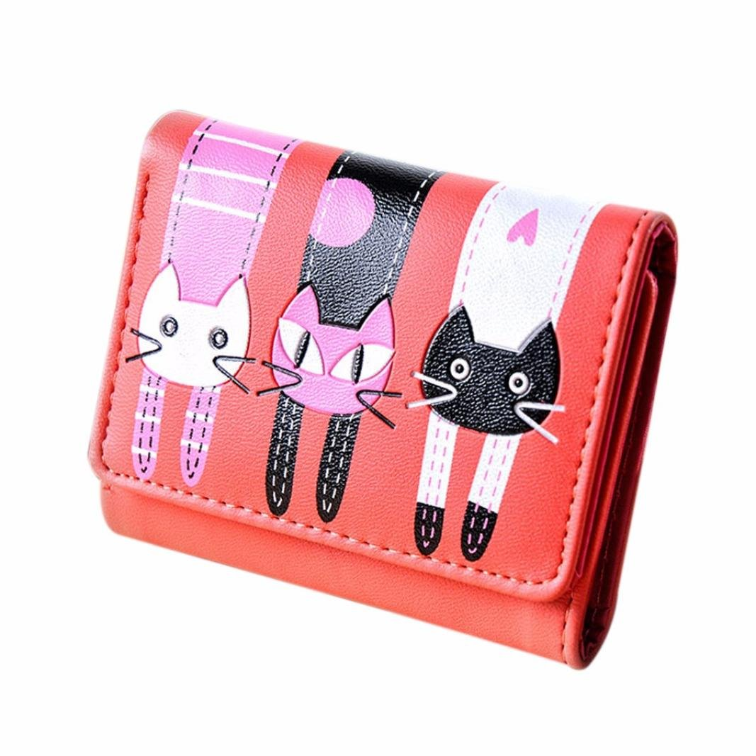 erthome Women's Cute Mini Animals Embroidery Short Wallet Card Holder Billfold Purse Wallet (Green)