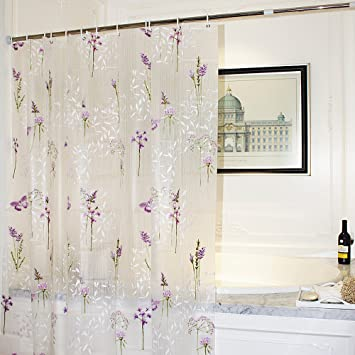 Mooxury Mildew Resistant shower curtain Liner with Hooks for Bathroom Purple  Flower with Butterfly EVAAmazon com  Mooxury Mildew Resistant shower curtain Liner with  . Purple Shower Curtain Liner. Home Design Ideas