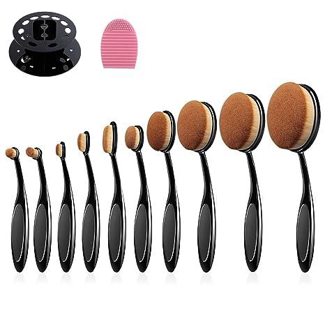 Cepillo de maquillaje oval 10pcs cepillo de dientes Xuanle diseño profesional pinceles de maquillaje Set +
