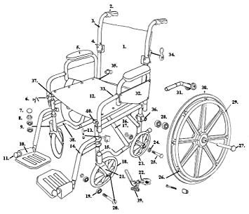 Drive Replacement Wheelchair Parts (All Parts Sold Separately) Parts for  TR16, TR18, TR20 -