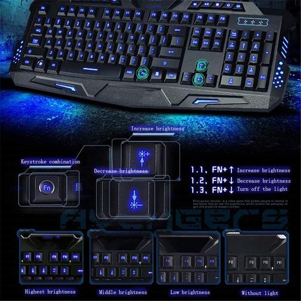 Computer Keyboard,USB Keyboard with Adjustable Backlit of 3 Colors and Adjustable Brightness of 3 Levels,for Windows 7//8//10 QLPP Wired Keyboard Ultra-Thin