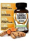 Turmeric Curcumin with BioPerine Black Pepper & 95% Curcuminoids, 1965mg, Maximum Absorption for Joint Support & Healthy Inflammatory Response, Non-GMO Turmeric Capsules, Made in USA - 90 Veg Caps