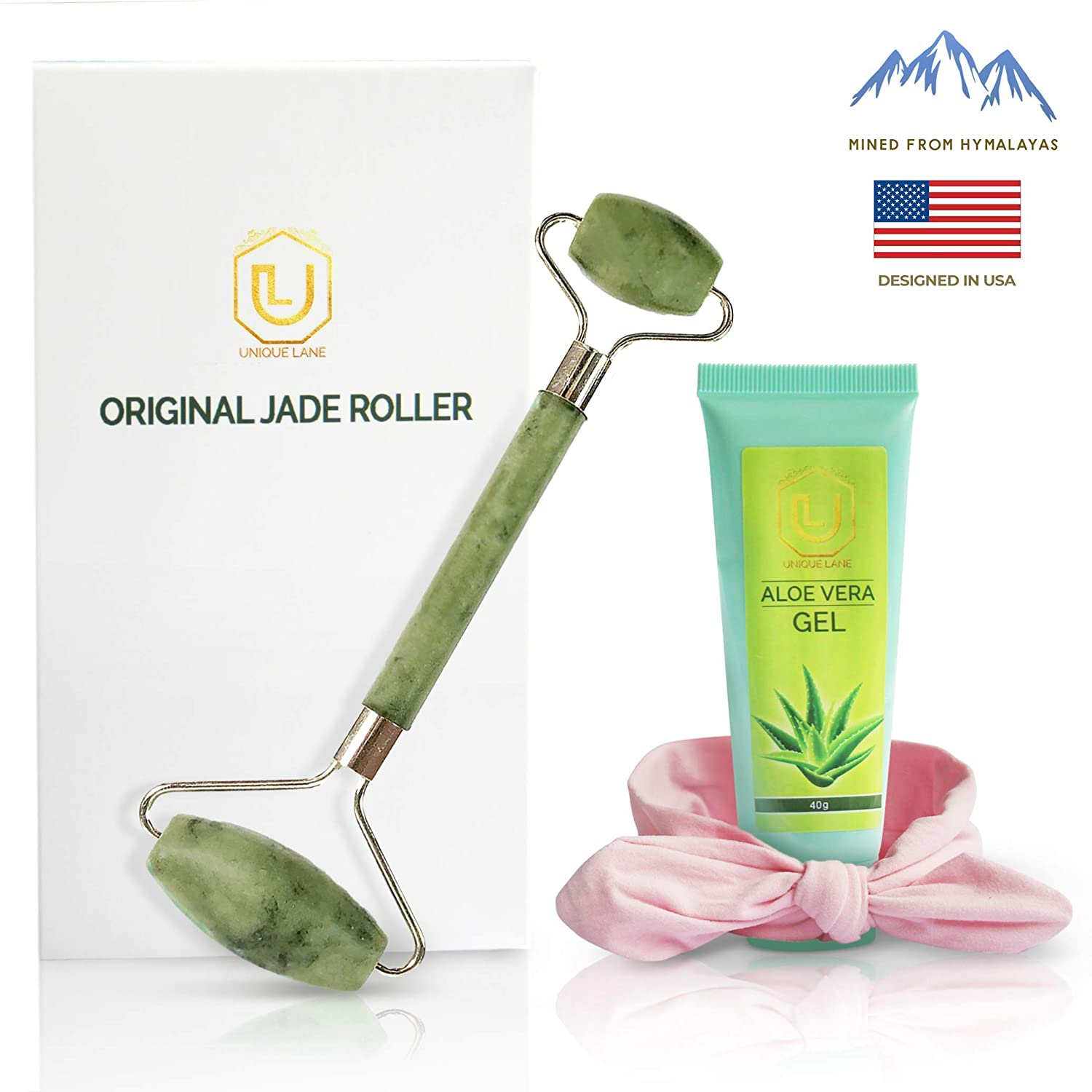 Jade Roller & Aloe Vera Gel Massage Tool Set   Anti Aging Massage Kit   Healing Slimming and Wrinkle Treatment For Face Neck & Body   jade Roller For Face Set includes Headband. Unique Lane