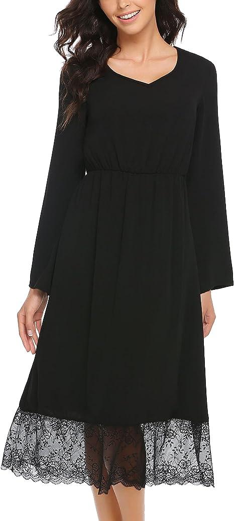 Damen Midi Kleider Langarm Casual Alltags Kleid mit Spitze Partykleid V  Ausschnitt Abendkleid A Linie Lange Kleid Hohe Taille Festlich Cocktail