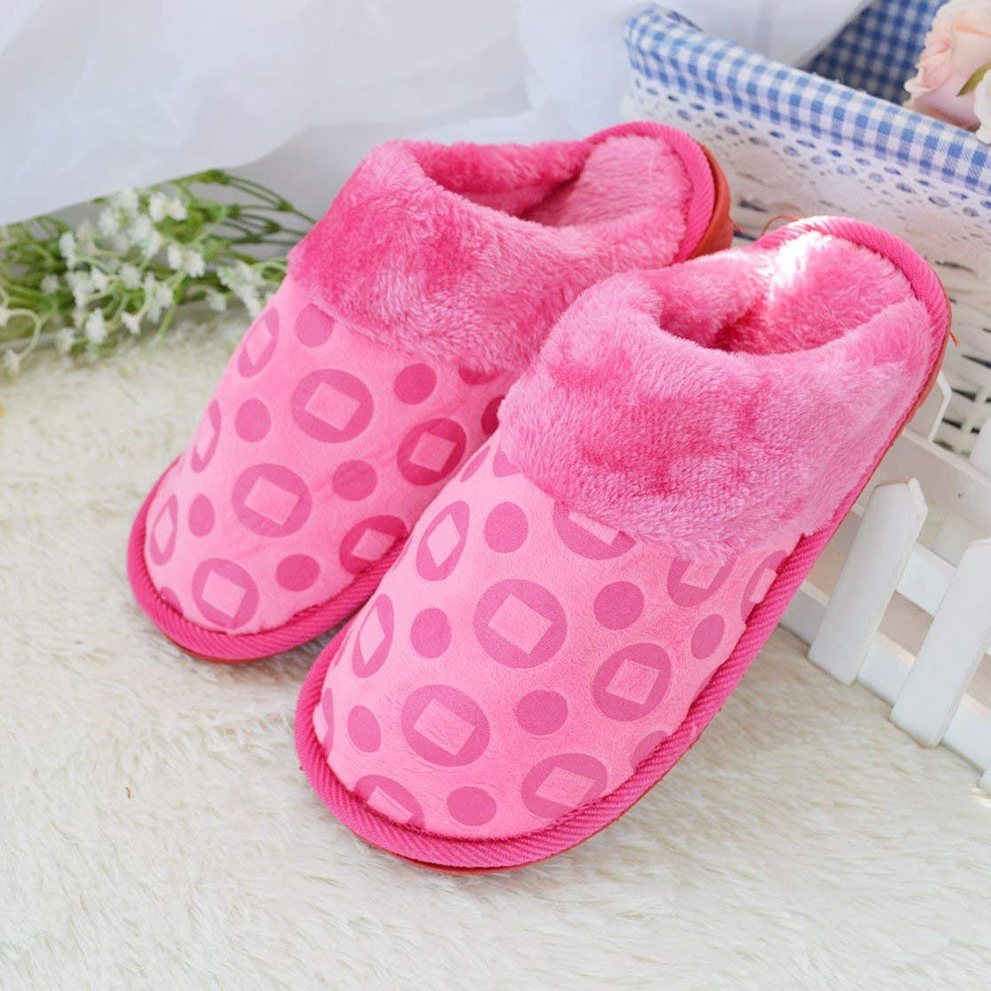 1 JaHGDU Women 's Home Cotton Slippers Indoor Keep Warm Casual Slippers orange Mixed color Personality Quality Pink for Women