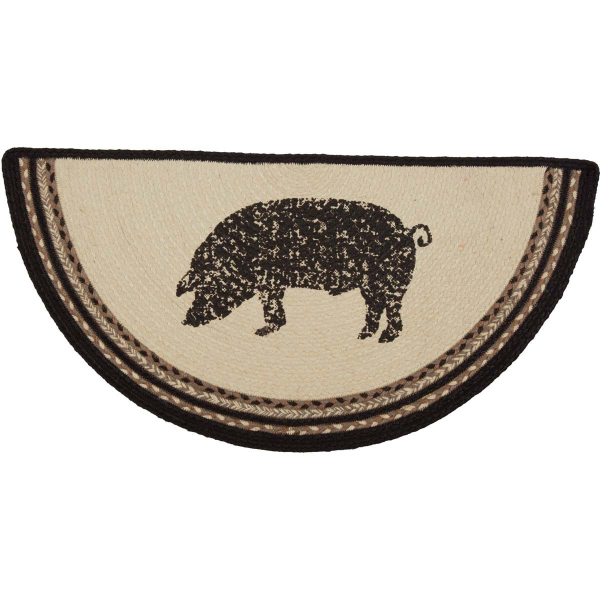 VHC Brands 38042 Farmhouse Flooring Miller Farm Charcoal Pig Jute Stenciled Nature Print Half Circle Rug, One Size, Bleached White