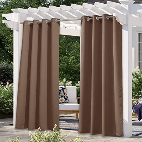 Outdoor Curtain UV Privacy Waterproof Heavy Drape for Porch Pergola Grommet Top