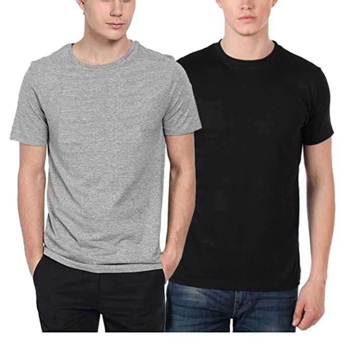 329e34a01 Men's T-Shirt, Plain Black and Light Grey Combo, Large: Amazon.in ...