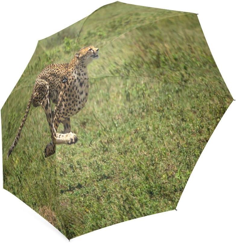 Custom Cheetah Compact Travel Windproof Rainproof Foldable Umbrella