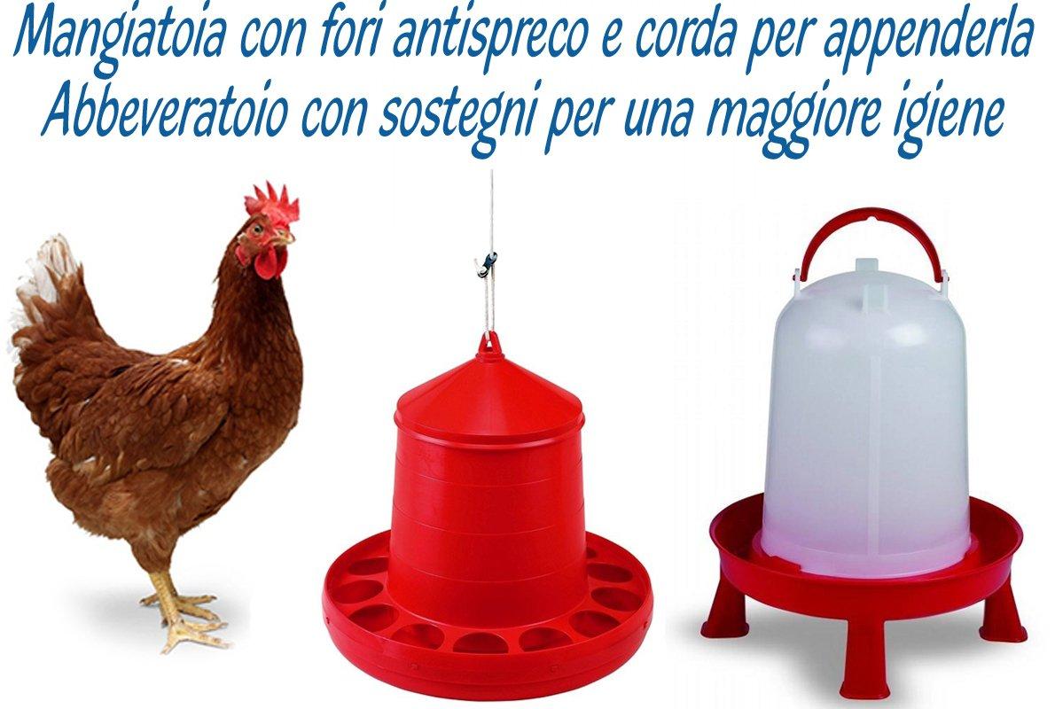 Mangiatoia da kg.4 per polli, galline, pulcini, con fori antispreco e corda registrabile per poterla anche appendere + Abbeveratoio da litri 10 con manico e sostegni per una maggiore igiene dell'acqua. Motisi Zootecnici