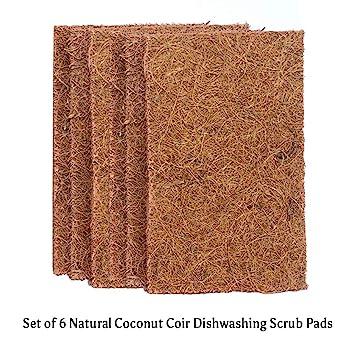 Goli Soda - Natural Coconut Coir Dishwashing Scrub Pads - Combo Pack Of 6 Scrubs - Biodegradable/Eco Friendly