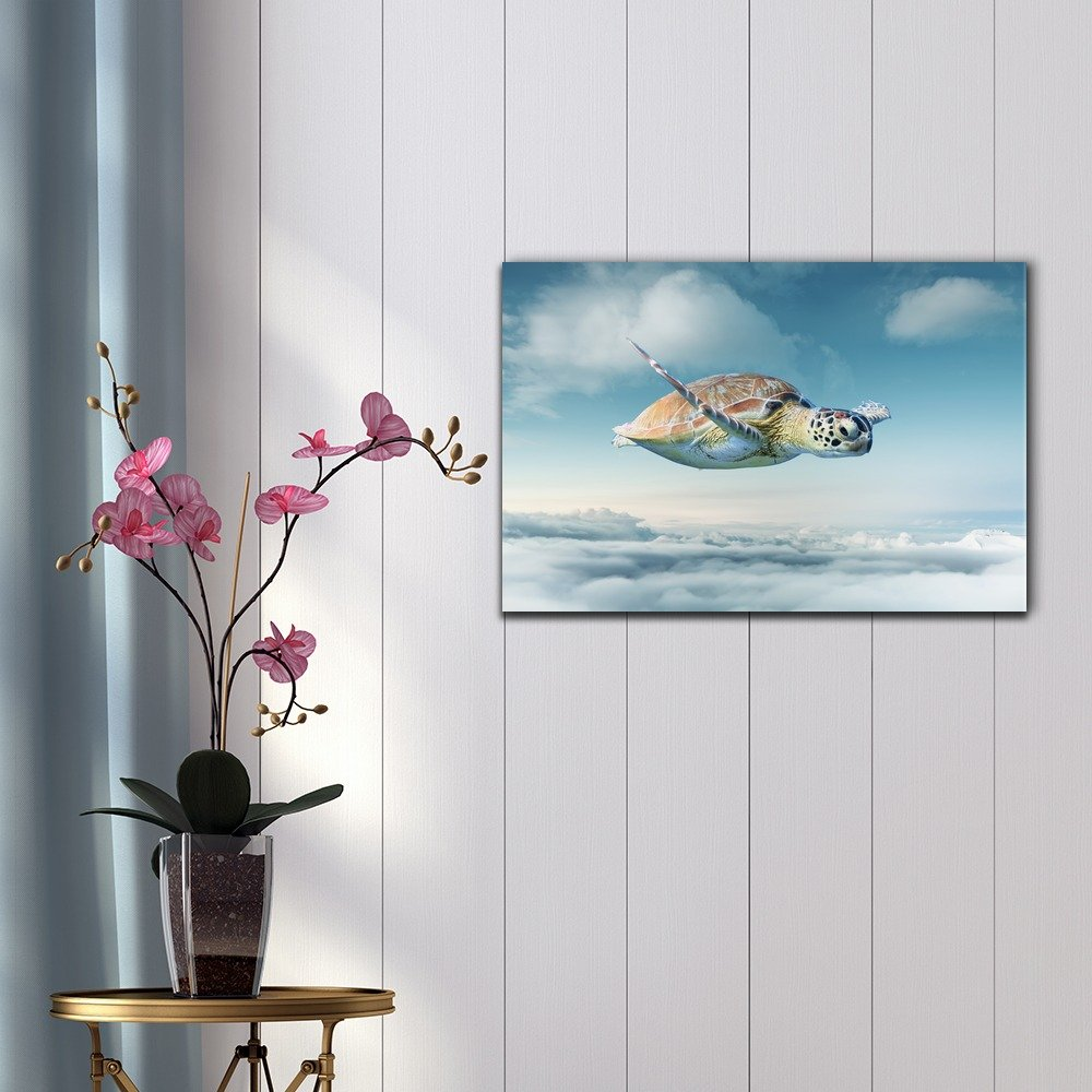wall26 – Funny Flying Animals Canvas Wall Art – Turtle Flying Above The Clouds in The Sky – Gallery Wrap Nursery Wall Decoration Kids Room Decor Ready to Hang – 32×48 inches