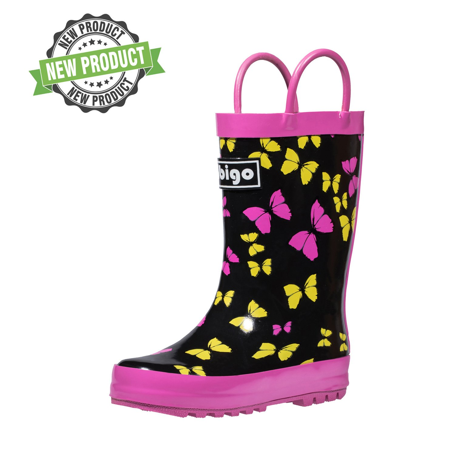 hibigo Children's Natural Rubber Rain Boots with Handles Easy for Little Kids & Toddler Girls, Butterfly
