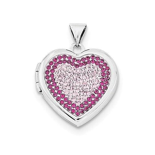 cbfcbdaa18a7 Sólido Plata de Ley Corazón Rose Light Rose Swarovski Elementos Locket  Charm colgante  Amazon.es  Joyería