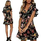 e0b3e115ae3 ilovgirl Flutter Sleeve Dress with deep v Neck Ruffle Design Mini Floral  Print Beach Bohemian Summer