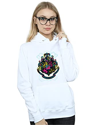 Harry Potter Mujer Neon Hogwarts Crest Capucha: Amazon.es