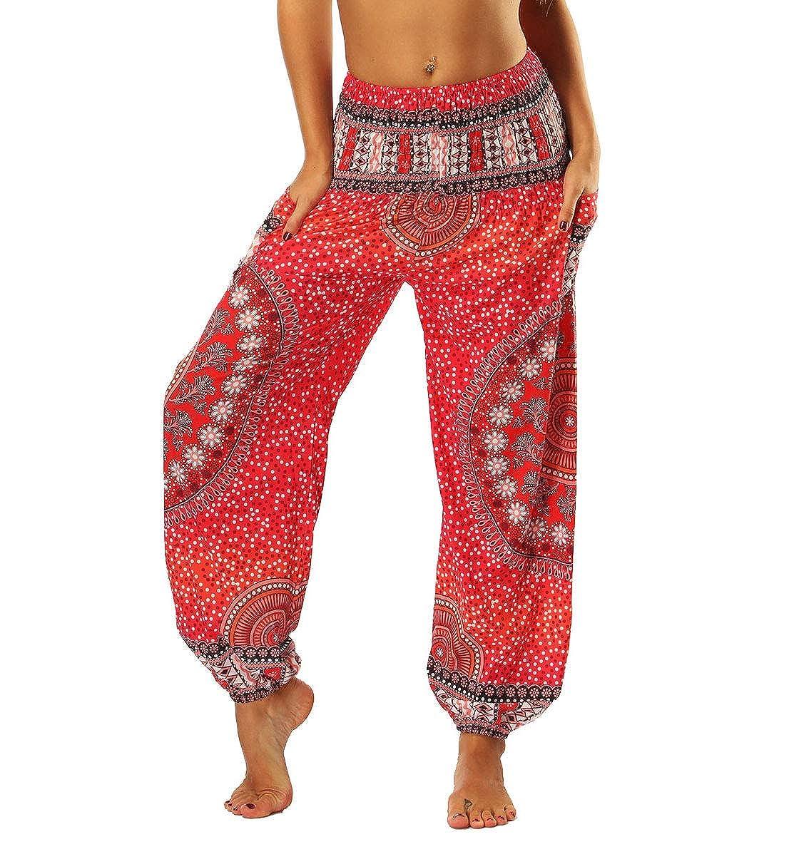 Red1(yci006) One Size Lcoco&Dream Yoga Harem Pants for Women Baggy Boho High Waist Gyspy Pants