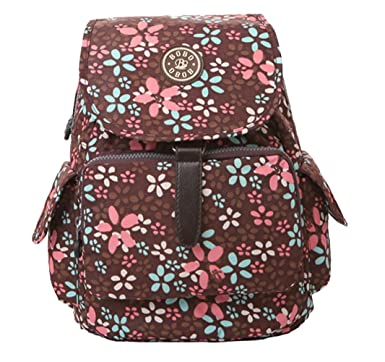 4c86023e9adb Herebuy - Cute Nylon Girls Backpack for School Floral Print Book Bags  (Brown)