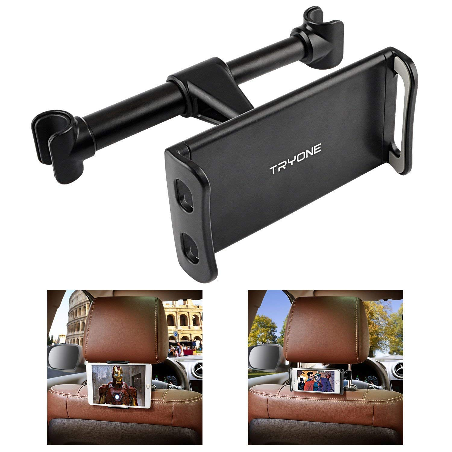 Tryone Car Headrest Tablet Mount Holder Compatible with Smartphones//Tablets//Switch 4.7-10.5 Headrest Posts Width 4.9in-5.9in Black