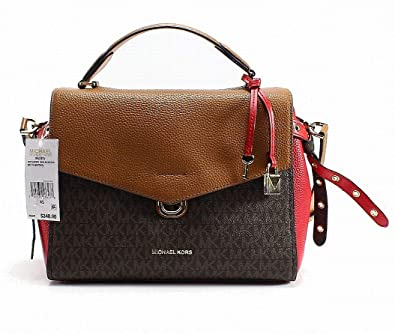 eaa6c73bb3fd15 MICHAEL Michael Kors Bristol Medium Top-Handle Logo Leather Satchel , Brown  Acorn Bright Red