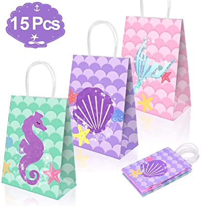 784597fba4bd3 Mermaid Gift Bags Mermaid Party Supplies Favors Goodie Bag Glitter Treat  Bags for Under the Sea Party Mermaid Gifts for Girls Set of 15