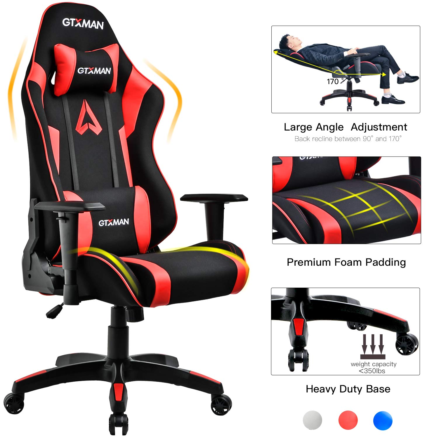 GTXMAN Gaming Chair Racing Style Office Chair Video Game Chair Breathable Mesh Chair Ergonomic Heavy Duty 350lbs Esports Chair Red by GTXMAN