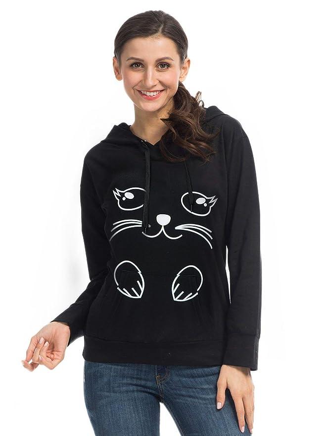 d564a5134660 Amazon.com  PERSUN Cute Cat Ear Unicorn Pullover Hoodie Long Sleeve ...