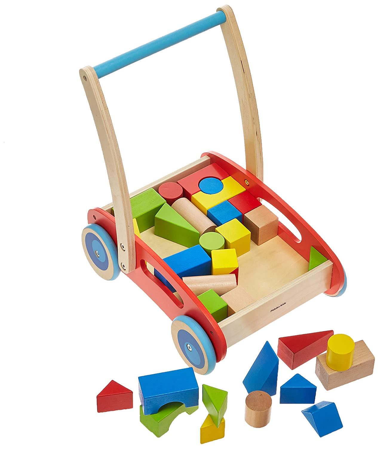 Pidoko Kids Baby Walker with Blocks Activity Block and Roll Cart 33 Pcs Toddler Learning Toys for 1 Year Old Wooden Push and Pull Toy Red