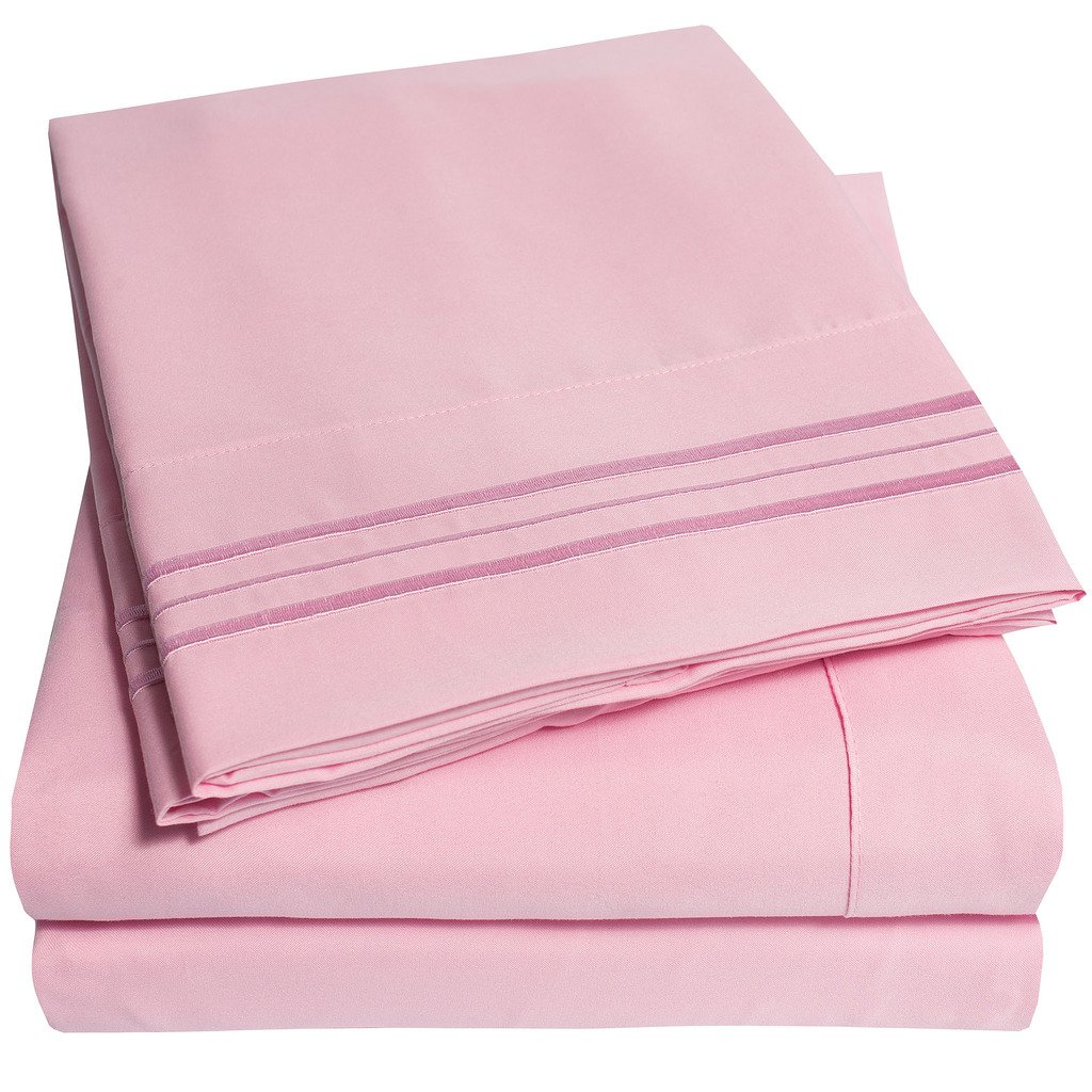 LUXURY 4 PIECE BED SHEET SET, PINK