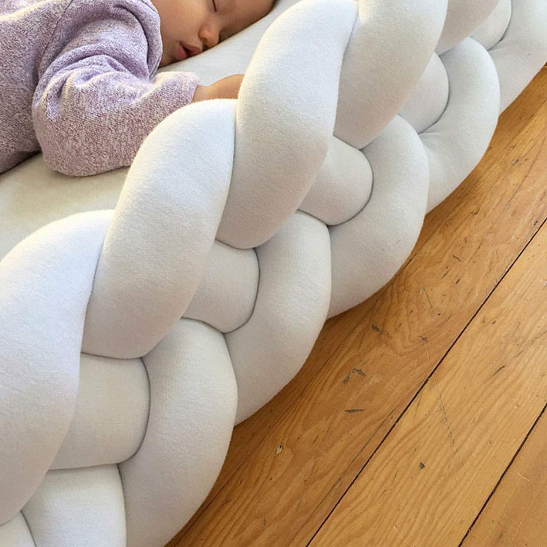 Size : 3.6M ZIYEYE Handmade Braided Cot Bumper Baby Head Guard Bumper Knot Braid Pillow Cushion Decorative Pillow for Baby Nursery Crib Bedding-White